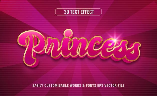 Księżniczka fioletowy złoty 3d edytowalny efekt tekstowy