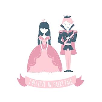Księżniczka i książę. ilustracja w stylu wyciągnąć rękę kreskówka. wierzę w bajkę.