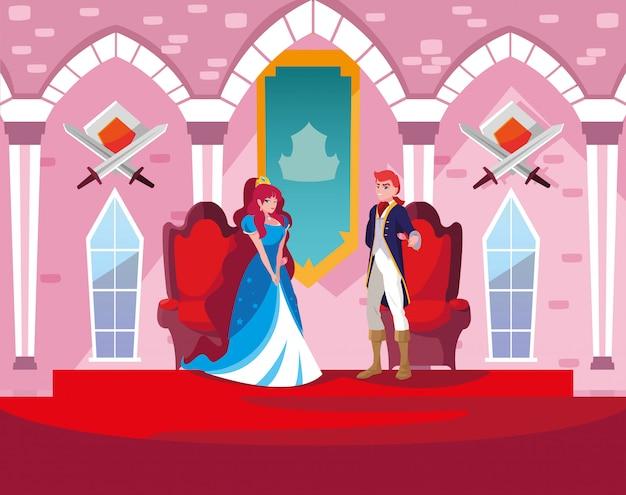 Księżniczka i książę w bajkowej zamku