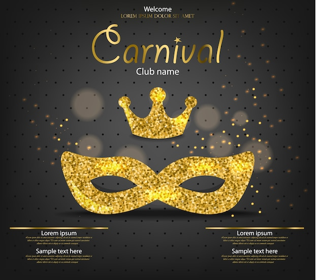 Księżniczka karnawałowa złota maska z brokatem