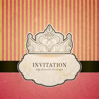 Księżniczka karta zaproszenie z koroną