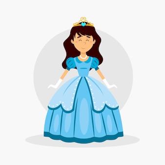 Księżniczka kopciuszek w niebieskiej sukience