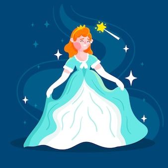 Księżniczka kopciuszek w niebiesko-białej sukience