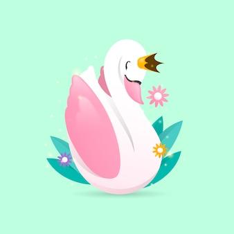 Księżniczka łabędź i kwiaty z liśćmi