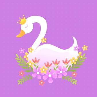 Księżniczka łabędź z koroną i kwiatami