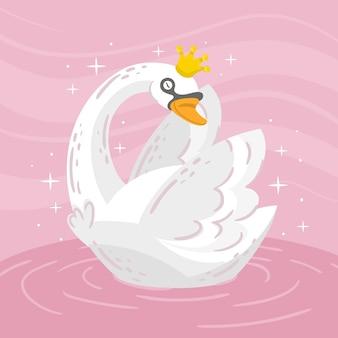 Księżniczka łabędź ze złotą koroną