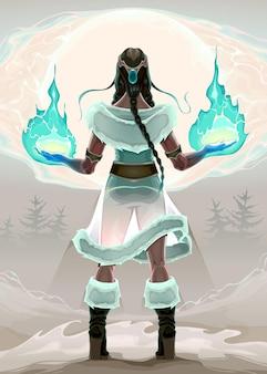 Księżniczka magik w drewnie. ilustracja wektorowa fantasy
