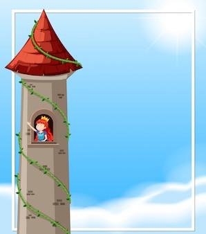 Księżniczka na zamku z copyspace