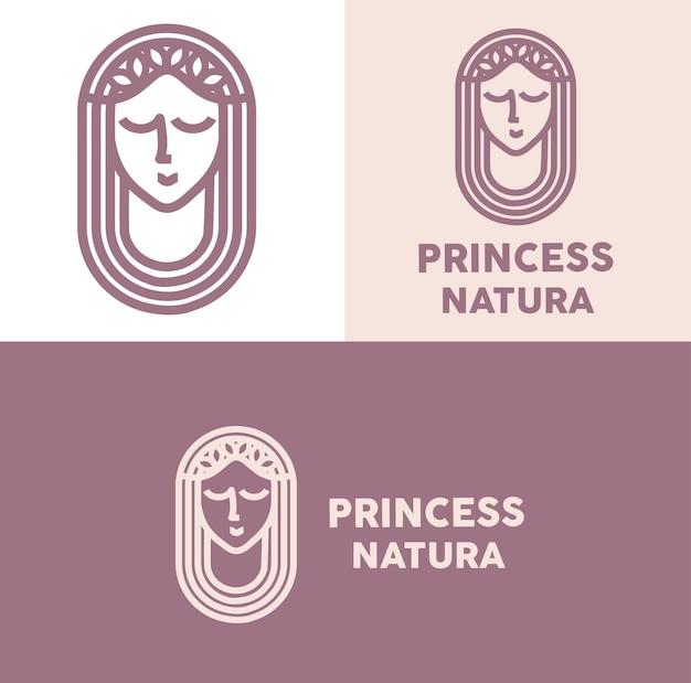 Księżniczka natura logo minimalna monoline