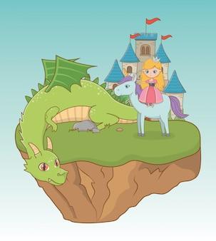 Księżniczka smok i koń bajkowego projektu