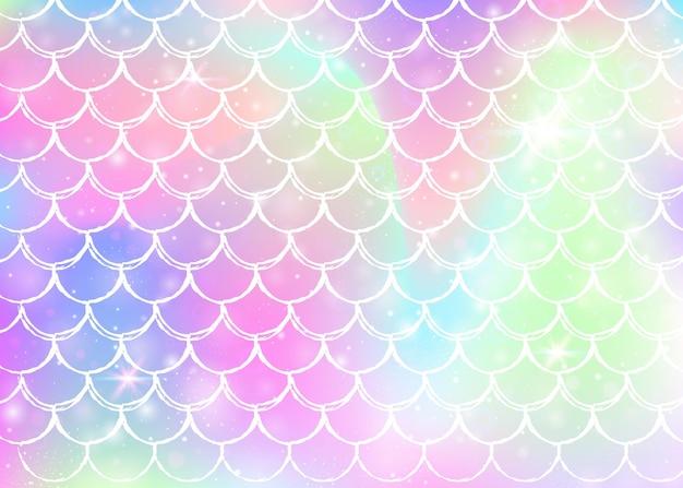 Księżniczka syrena tło z wzorem tęczowych łusek kawaii