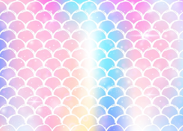Księżniczka syrenka tło wzór kawaii tęczy łuski.