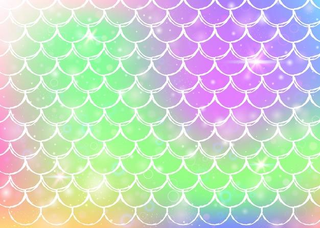 Księżniczka syrenka tło z kawaii tęczy łuski wzór