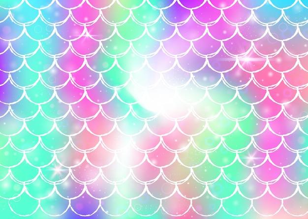 Księżniczka syrenka tło z kawaii tęczy wzór łuski. transparent rybi ogon z magicznymi iskierkami i gwiazdami. morze fantasy zaproszenie na dziewczęcą imprezę. fluorescencyjne tło syrenka księżniczka.