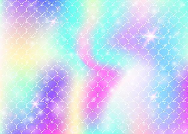 Księżniczka syrenka tło z kawaii tęczy wzór łuski. transparent rybi ogon z magicznymi iskierkami i gwiazdami. morze fantasy zaproszenie na dziewczęcą imprezę. futurystyczny syrenka księżniczka tło.