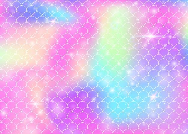 Księżniczka syrenka tło z kawaii tęczy wzór łuski. transparent rybi ogon z magicznymi iskierkami i gwiazdami. morze fantasy zaproszenie na dziewczęcą imprezę. neonowa księżniczka syrenka tło.