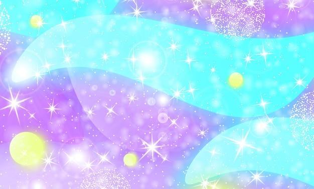 Księżniczka tło. syrenka tęcza. niebo holograficzne. wzór jednorożca. druk galaktyki fantasy. bajkowa grafika. fioletowe, niebieskie, żółte kolory księżniczki.