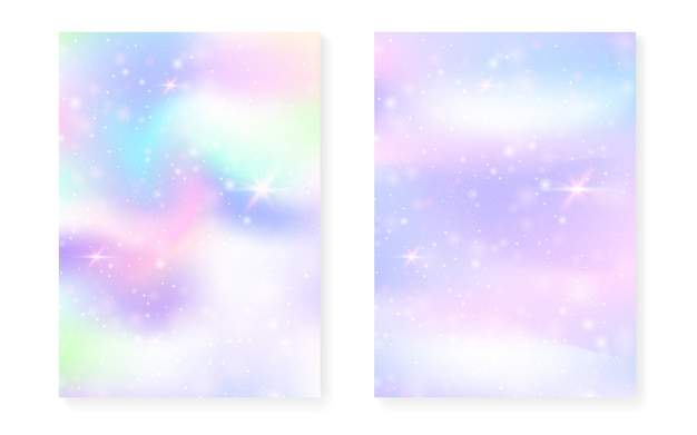 Księżniczka tło z gradientem tęczy kawaii. hologram magicznego jednorożca.