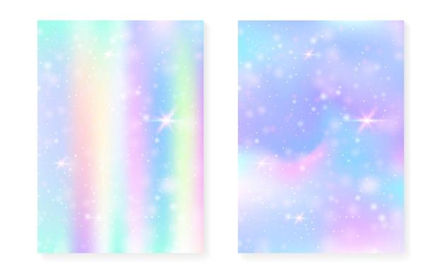 Księżniczka tło z gradientem tęczy kawaii. magiczny jednorożec