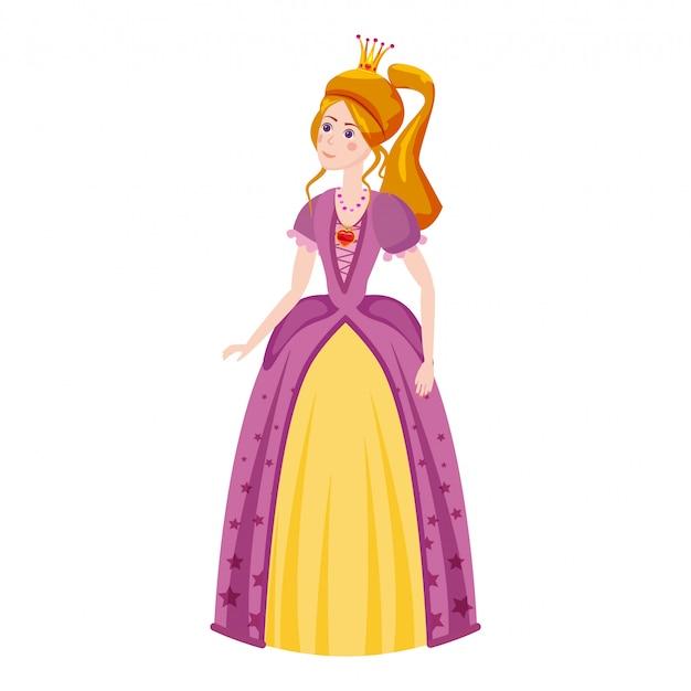 Księżniczka w pięknej sukience z diamentem w kolorze czerwonym diadem.