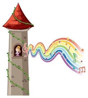 Księżniczka w wieży z symbolem melodii na fali tęczy
