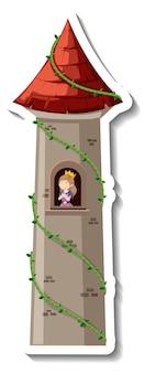 Księżniczka w wieży zamkowej na białym tle