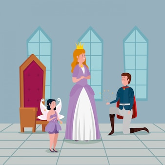 Księżniczka z księciem w zamku wewnątrz