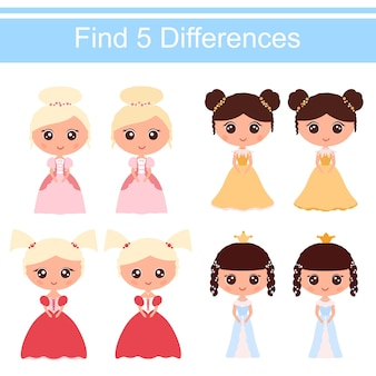 Księżniczki z kreskówek w pięknych sukienkach. znajdź 5 różnic. gra edukacyjna dla dzieci. ilustracja wektorowa stylu cartoon płaskie.