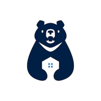 Księżyc czarny niedźwiedź dom hipoteczny dom architektura negatywna przestrzeń logo wektor ikona ilustracja