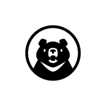 Księżyc czarny niedźwiedź głowa okrągły emblemat logo wektor ikona ilustracja