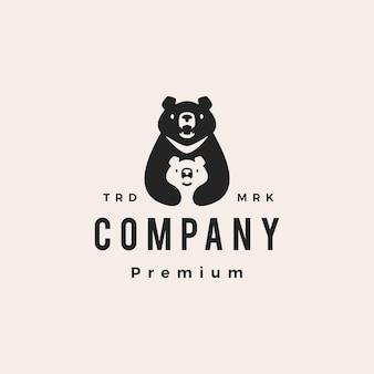 Księżyc czarny niedźwiedź mama syn rodzic wietnam hipster vintage logo wektor ikona ilustracja