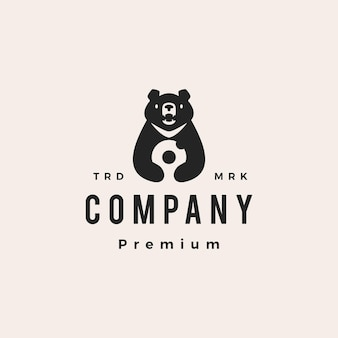 Księżyc czarny niedźwiedź pączki wietnam hipster vintage logo wektor ikona ilustracja