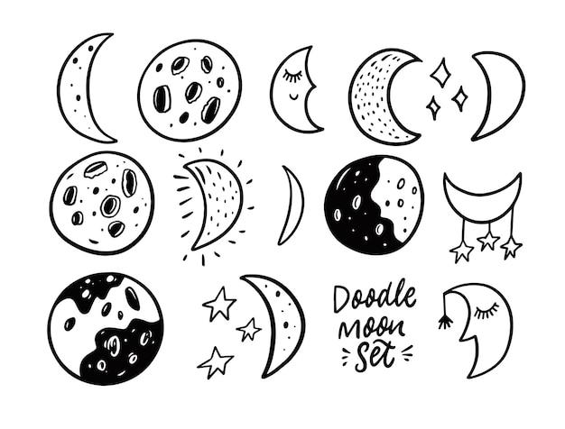Księżyc doodle zestaw ilustracji