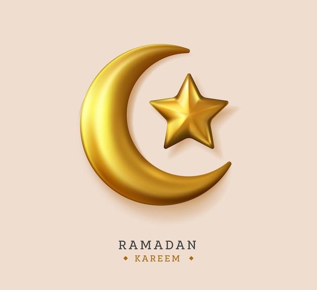 Księżyc gwiazda realistyczna ilustracja ramadan kareem