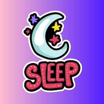 Księżyc, gwiazdy z naszywką z napisem sleep. płaska naklejka na ramkę przed snem. naklejka na nocne niebo