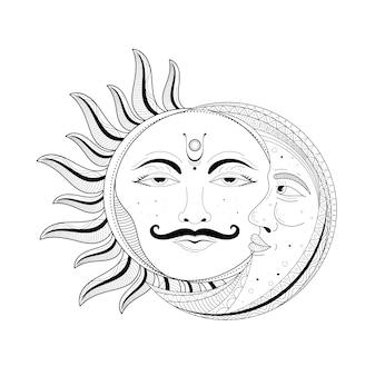 Księżyc i słońce ozdobne wzornictwo