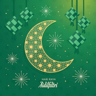 Księżyc i wiszące ketupat hari raya aidilfitri