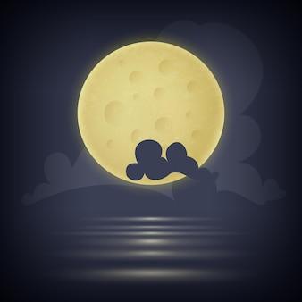 Księżyc na nocnym niebie wśród chmur