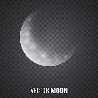 Księżyc na przezroczystym tle. światło księżyca. półksiężyc.