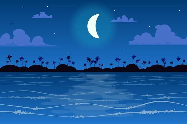 Księżyc nad krajobrazem tropikalnej wyspy w stylu płaski
