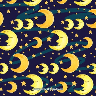 Księżyc patron i akwarela gwiazd