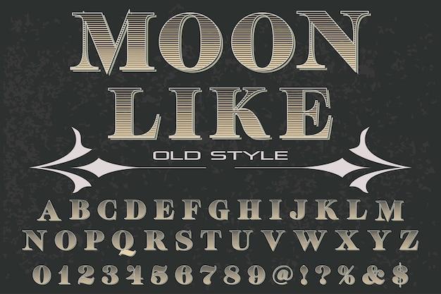 Księżyc retro projekt etykiety alfabetu jak