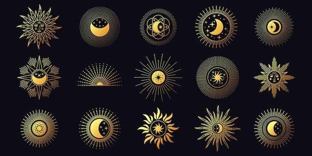 Księżyc, słońce i gwiazdy, niebiańskie elementy linii boho. szykowne złote symbole mistycznej astrologii. minimalistyczny zestaw wektorów tatuażu i logo do jogi