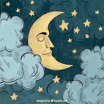 Księżyc spania w tle