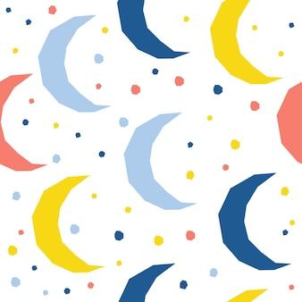 Księżyc streszczenie tło wzór. dziecinna prosta aplikacja księżycowa osłona nieba do karty projektowej, tapety, albumu, albumu, papieru do pakowania wakacji, tkaniny tekstylnej, nadruku na torbie, koszulki itp.