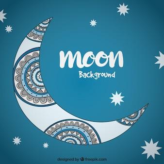 Księżyc tła z etnicznych ręcznie rysowane szczegóły