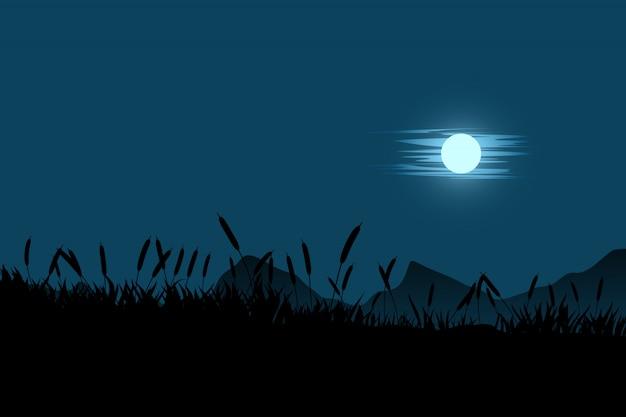Księżyc w chmurach i sylwetka trawy