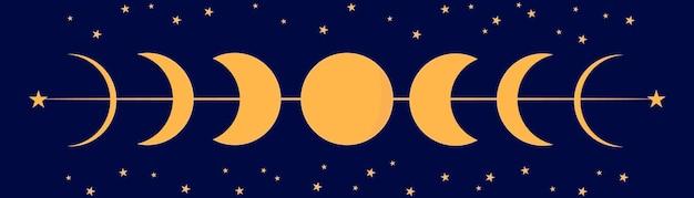 Księżyc w nocy w różnych stadiach wzrostu od pełni do zaćmienia. ilustracja wektorowa