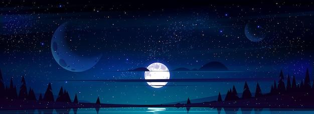 Księżyc w pełni na nocnym niebie z gwiazdami i chmurami nad drzewami i stawem odbijającym światło gwiazd