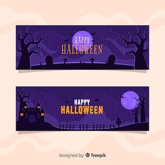 Księżyc w pełni noc płaskie banery halloween